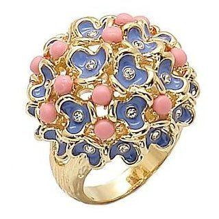 Size 5 Flower Bouquet Rose Semi Precious Brass Gold Plated Ring AM Jewelry