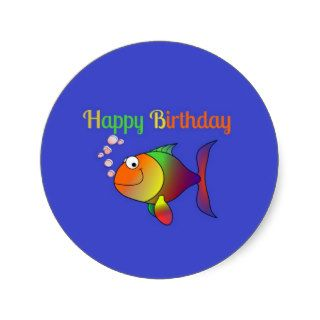Happy Birthday   Cute and Colorful Cartoon Fish Sticker