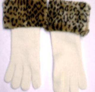 Ivory Color Angora Wool Gloves Hand Trimmed with Fluffy Leopard Print Fur Cuff for Women and Teens Cold Weather Gloves
