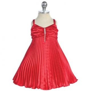 Baby Girls Red Satin Pleated Flower Girl Easter Pageant Dress 24M Chic Baby Clothing