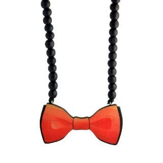 Swaggwood Wooden Bow Tie Pendant Beaded Necklace Made in the USA Jewelry