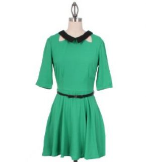 Mustard Seed Peter Pan Collared Dress with Bow Belt in Green, Small