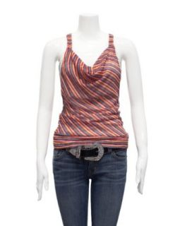 Ladies Orange Red Blue White Striped Double Layered Knit Top Inner Lining