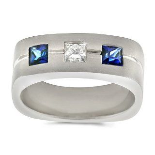 Men's Diamond Ring   Men's Trio Sapphire/Diamond Ring in Platinum (.40 dia / .75 sap ct. tw. / G Color / VS1 VS2 Clarity) Bands Jewelry