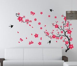 YYone Plum Blossom Red Flowers Tree Branch Swallows Art Wall Mural Home Decor Wall Sticker