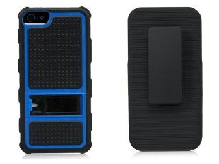 iSee Case (TM) Blue Hybrid Kickstand Belt Clip Holster Full Cover Case for AT&T Verizon iPhone 5 LTE in iSee Case retail Package(5 Heavy Duty Blue on Black Holster) Cell Phones & Accessories