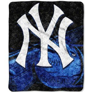 "MLB New York Yankees 50 Inch by 60 Inch Sherpa on Sherpa Throw Blanket ""Big Stick"" Design  Sports Fan Throw Blankets  Sports & Outdoors"