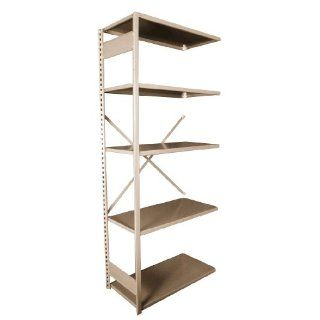 "Equipto 661W5S V Grip 18 Gauge Heavy Duty Steel Open Shelf Starter Unit with 5 Shelves, 430 lbs Shelf Capacity, 48"" Width x 84"" Height x 12"" Depth, Putty Tool Utility Shelves"