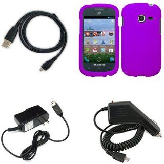 iFase Brand Samsung Galaxy Centura S738C Combo Rubber Purple Protective Case Faceplate Cover + Home Wall Charger + Rapid Car Charger + USB Data Charge Sync Cable for Samsung Galaxy Centura S738C Cell Phones & Accessories