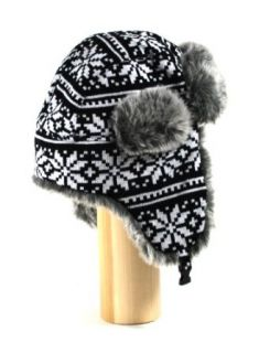W360 Black Snowflake Nordic Knitted Soft Faux Fur Wool Trooper Trapper Pilot aviator Aviator Hat for Women and Men one size fits up to a large head at  Men�s Clothing store