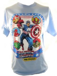 Captain America Mens T Shirt   And Friends Spider Man, Thor, Iron Man, Luke Cage Novelty T Shirts Clothing