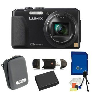 Panasonic Lumix DMC ZS30 Digital Camera (Black). Includes 8GB Memory Card, High Speed Memory Card Reader, Extended Life Replacement Battery, Case & Starter Kit  Point And Shoot Digital Camera Bundles  Camera & Photo