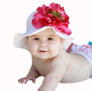 Melondipity Girls Babies Who Brunch White Baby Sun Hat   Large Pink Flower Cap Clothing