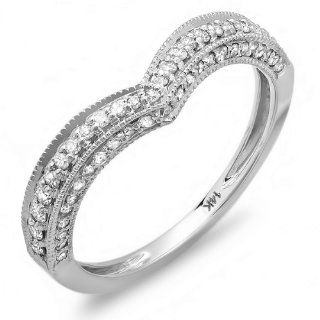 0.33 Carat (ctw) 14k White Gold Round Diamond Ladies Anniversary Wedding Band Enhancer Guard Chevron Ring 1/3 CT Jewelry