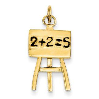 14K Yellow Gold Blackboard & Easel Charm Pendants Jewelry