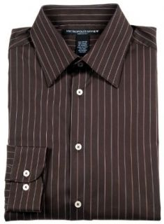 METROPOLITAN VIEW Mens Brown Cotton Striped Dress Shirt Medium M Gorgeous at  Men�s Clothing store Pin Stripe Dress Shirt