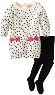 Isaac Mizrahi Baby Girls Infant Sweater Knit Polka Dot Dress With Tight, Cr�me, 18 Months Clothing