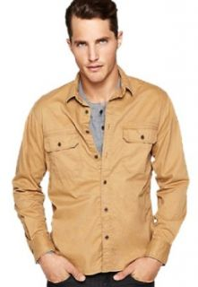 Lucky Brand Mens Retro Throwback Brushed Twill Utility Shirt, Khaki Brown (Medium) at  Men�s Clothing store