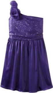 Ruby Rox Kids Girls 7 16 One Shoulder Glitter Dress, Purple, 14 Clothing