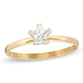 Childs 4.0mm Star Shaped White Cubic Zirconia Ring in 10K Gold   Size