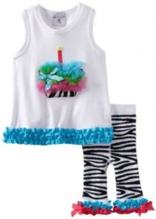 Mud Pie Baby girls Infant Wild Child Zebra Tunic And Capri, Black/White, 0 6 Months Infant And Toddler Pants Clothing Sets Clothing