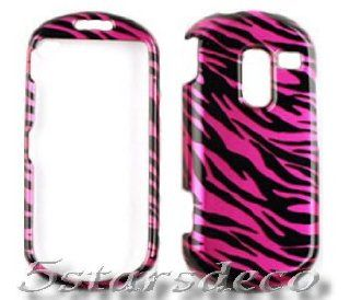 For Straight Talk Samsung R455c Accessory   Pink Zebra Design Hard Case Cover + LF Screen Wiper Cell Phones & Accessories