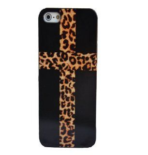Cross with Leopard Print   iPhone 5 5G Snap On Case Plastic Black Cheetah Cell Phones & Accessories