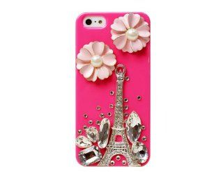 BONAMART ® Bling Rhinestone Eiffel Tower Flower Pearl Hard Back Case Cover iPhone 5 5G 5th Peach Cell Phones & Accessories