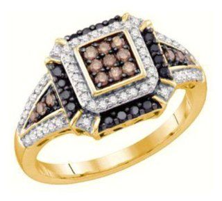 0.43 cttw 10k Yellow Gold Black Diamond Engagement Ring Chocolate Brown Diamonds, Dainty Design, Color Of Diamonds Light To Medium Brown (Real Diamonds 0.43 cttw, Ring Sizes 4 10) Jewelry