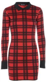 New Womens Collared Red Tartan Bodycon Long Sleeve Shirt Dress 4 10