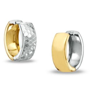 Reversible Diamond Cut and Polished Hoop Earrings in 14K Two Tone Gold