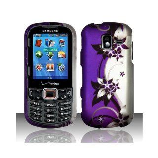 Purple Silver Flower Hard Cover Case for Samsung Intensity III 3 SCH U485 Cell Phones & Accessories