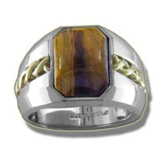.005 ct Silver & 14K Green Gold Tiger Eye Mens Ring Jewelry