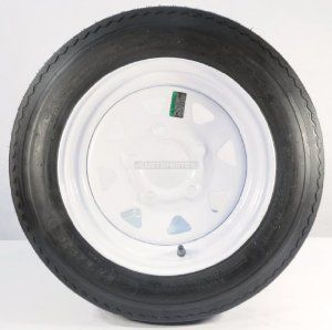 "TWO TRAILER TIRES & RIMS 4.80 12 480 12 4.80 X 12 12"" LRB 5LUG WHEEL WHITE SPOKE Automotive"