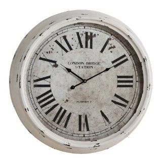 Round Wall Clock with Roman Numerals in Distressed White Finish Beauty