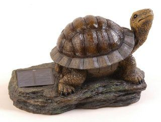 Pine Top 502 0001 Decorative Solar Turtle Night Light with Amber LED   Outdoor Figurine Lights