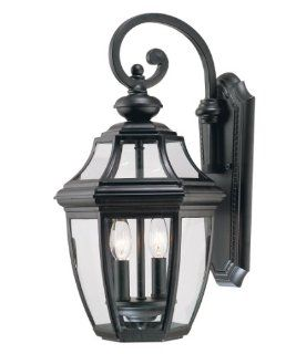 Savoy House Lighting 5 492 BK Endorado Collection 2 Light Outdoor Wall Mount Lantern, Black Finish with Clear Glass   Wall Porch Lights