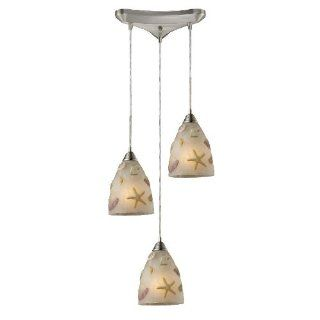 Elk Lighting 20000 3 Seashore 3 Light Contemporary Pendant Lighting Fixture, Satin Nickel, Glass With Seashell Pattern, B12606   Ceiling Pendant Fixtures