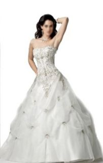 Ball Gown Strapless Court Train Wedding Dress With Ruffle/Applique Organza/ Taffeta