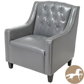 Christopher Knight Home Gabriel Tufted Grey Leather Club Chair Christopher Knight Home Chairs