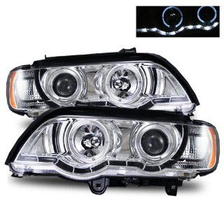 BMW X5 2001 2003 LED Halo Projector Headlights Chrome (Fits All) Automotive