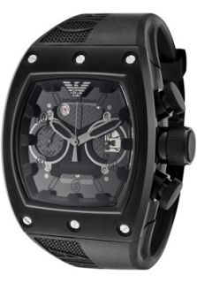 Emporio Armani AR4901  Watches,Mens Super Meccanico Automatic Partially Skeletonized Black Textured Dial Black Rubber, Chronograph Emporio Armani Automatic Watches