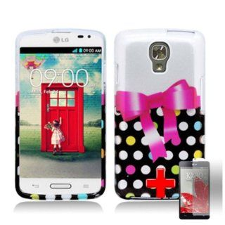 LG Volt LS740   2 Piece Snap On Glossy Image Case Cover, Pink Bow Tie Ribbon Multicolor Polka Dot Spot Pattern + SCREEN PROTECTOR Cell Phones & Accessories