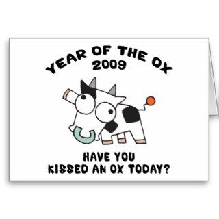 Funny Year of The Ox Gifts Greeting Cards