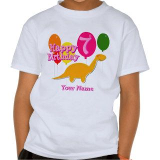 Happy Birthday 7 Years Party Balloon Dinosaurs Tee