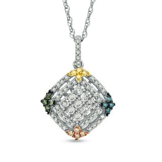 CT. T.W. Enhanced Multi Color Diamond Layered Square Pendant in