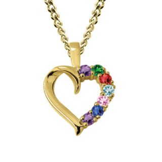 Personalized Birthstone Heart Mothers Pendant in 10K Gold (3 7 Stones