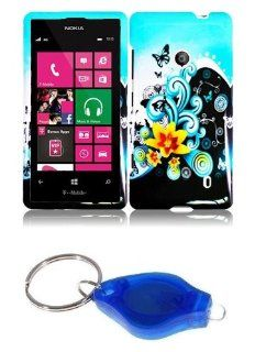 Yellow Flower and Butterfly on Baby Blue Design Shield Case + Atom LED Keychain Light for Nokia Lumia 521 / 520 Cell Phones & Accessories