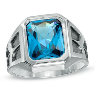 Mens Emerald Cut Blue Topaz Ring in Sterling Silver   Zales
