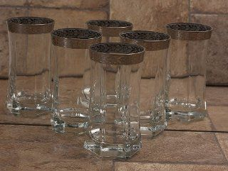 Lorenzo Silver Border Drinking Glass, Set of 6 Kitchen & Dining